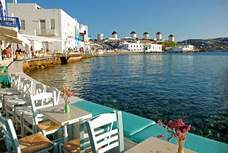 Lilla Venedig av Mykonos, Grekland arkivbilder