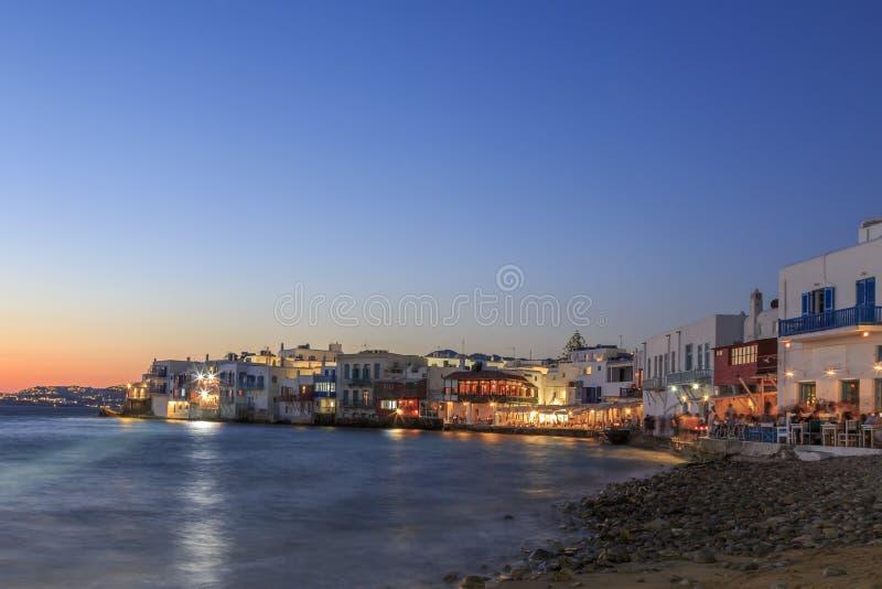 Lilla venice från stranden i gammal staddel av Mykonos, Grekland royaltyfria bilder
