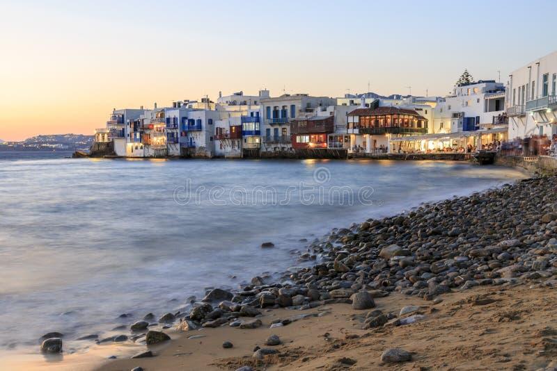 Lilla venice från stranden i gammal staddel av Mykonos, Grekland dur royaltyfria foton