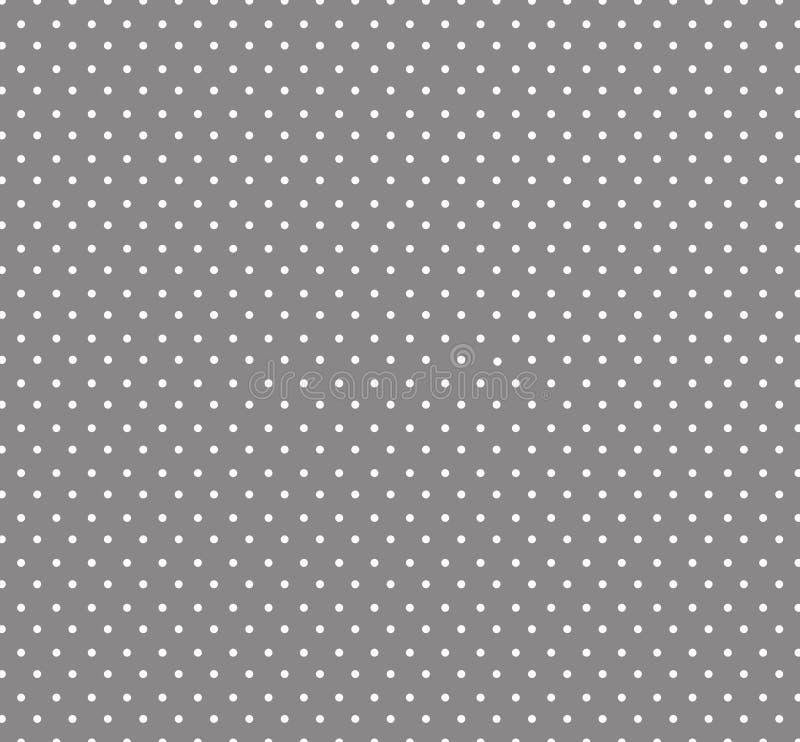 Lilla vita Polkadots, Grey Background, sömlös bakgrund för ungar Baby showergarneringbakgrund royaltyfri illustrationer
