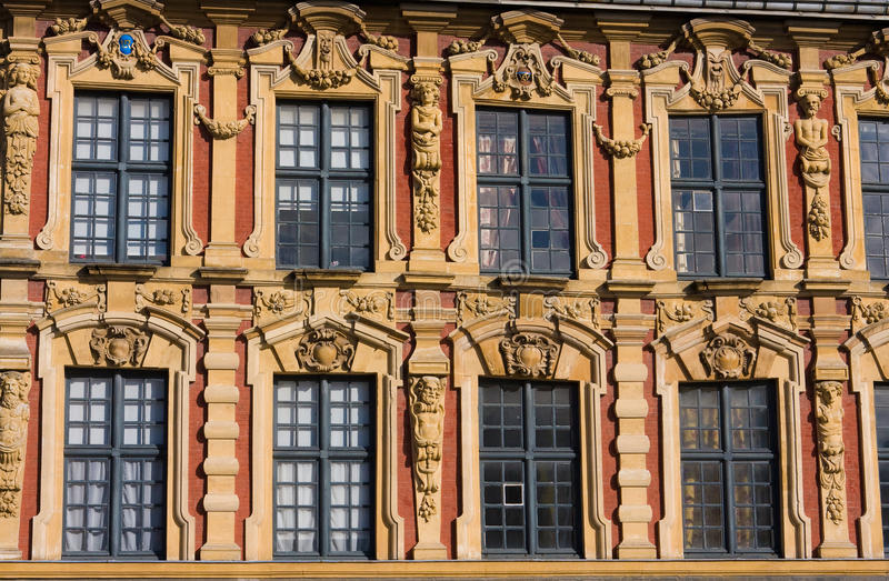 Lille. Neoclassical house on the Grand Place in Lille, France royalty free stock photos