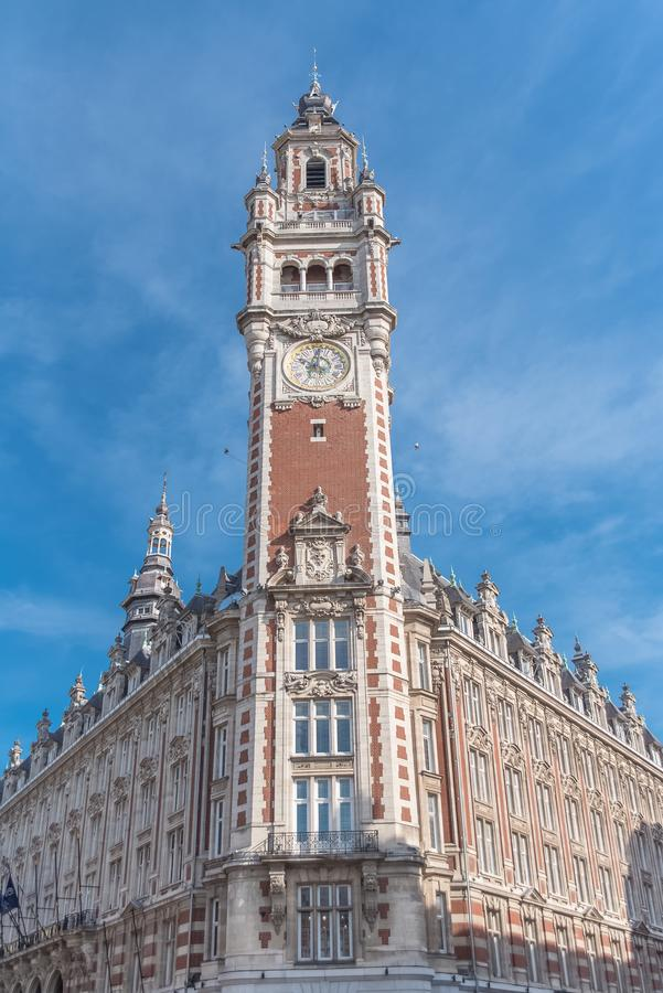 Lille, beautiful city in France. The belfry of the Chambre de Commerce royalty free stock photo
