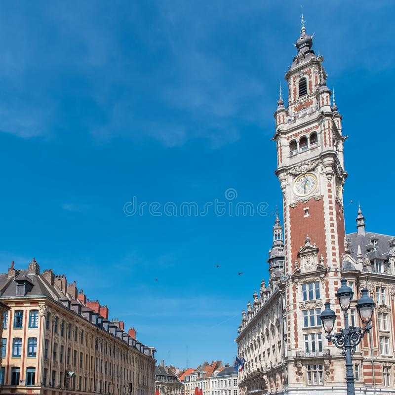 Lille, belfry. Lille, the belfry of the Chambre de Commerce stock photography