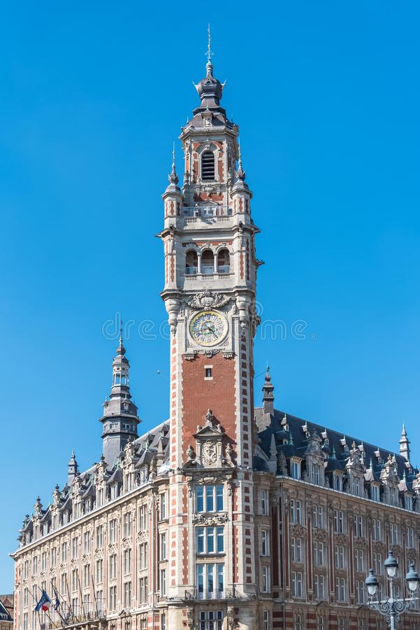 Lille, belfry. Lille, the belfry of the Chambre de Commerce royalty free stock image