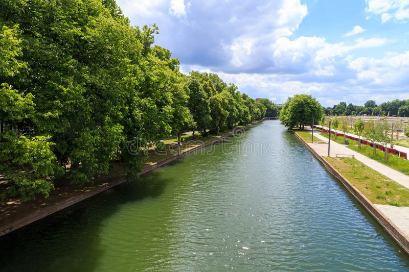 Lille canal. Canal around the citadel of Lille in France stock photo