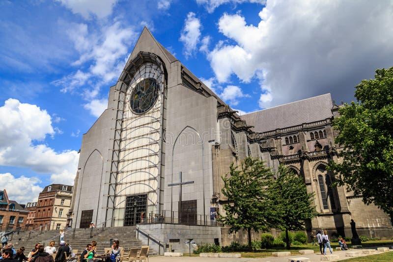 Lille Cathedral. Basilique-cathédrale Notre-Dame-de-la-Treille de Lille, the Basilica of Notre Dame de la Treille in Lille, France stock photos