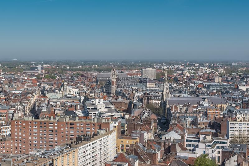 Lille, aerial view. Lille, the Chambre de Commerce and its belfry, view from the belfry of the city hall stock images