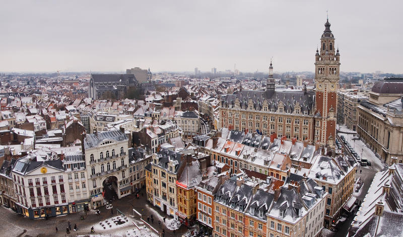Lille downtown. Panoramic view in winter, France stock photo