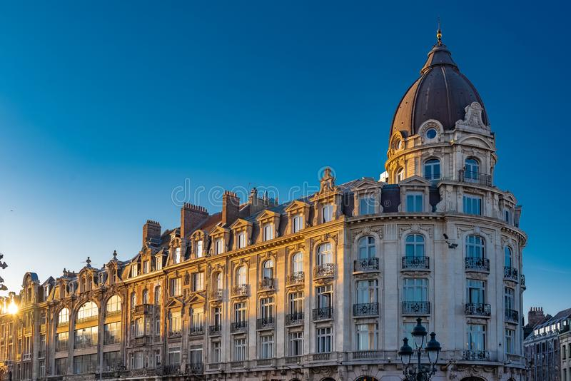 Lille, France. Lille, former building in the center, typical place in the north of France stock image