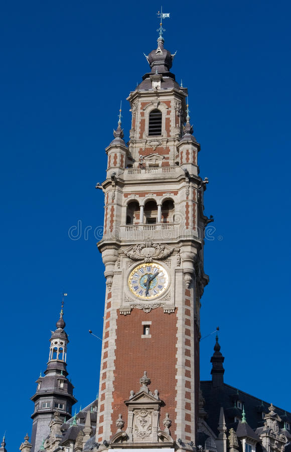 Lille, France. Tower of the chambre de commerce in Lille, France royalty free stock image