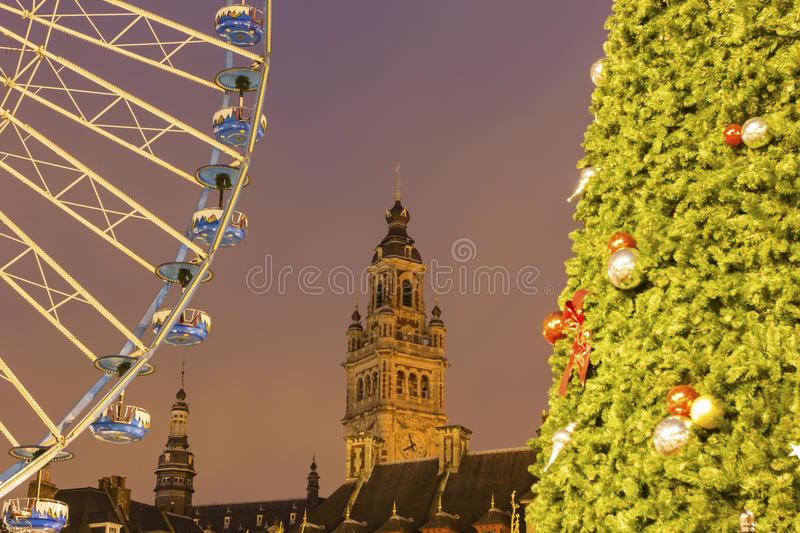 Lille in France during Christmas. Grand place with Chamber of Commerce and Industry in Lille in France during Christmas stock photos