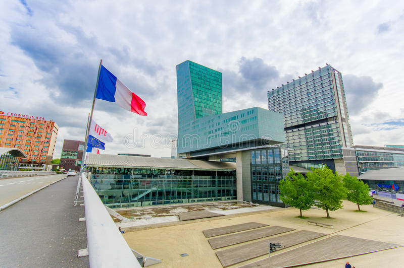 Lille, France - June 3, 2015: Modern architecture railroad station Lille Europe with its easyily recognizable shape stock photo
