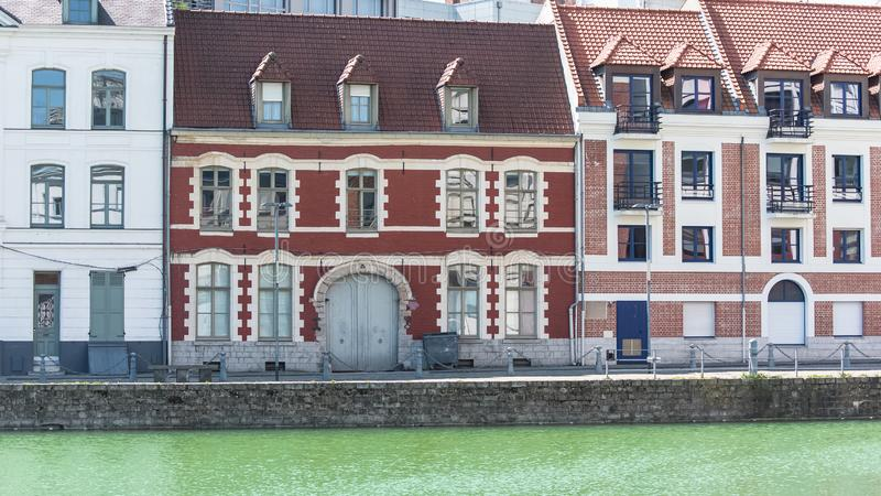 Lille, France. Lille, beautiful ancient facade on the river, in the center royalty free stock image