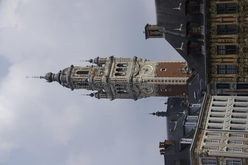 Lille France. Tower of the chambre de commerce in Lille, France royalty free stock photos