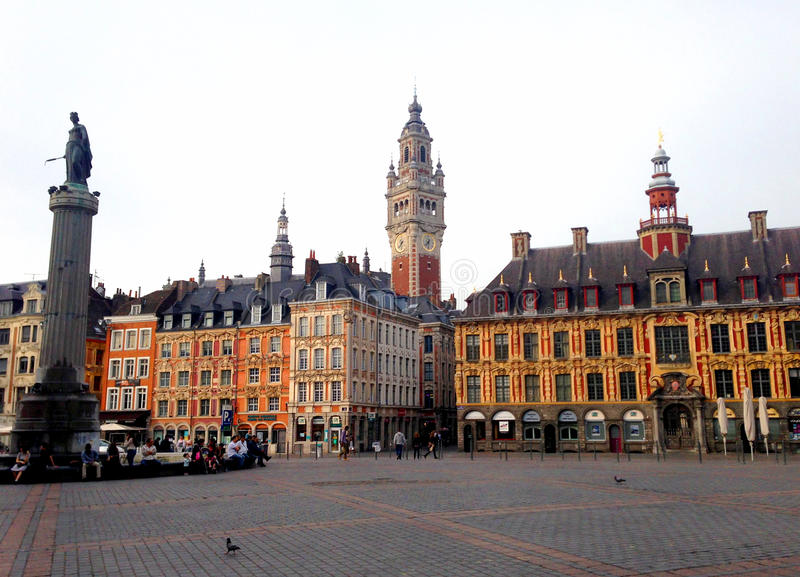 LILLE - France. The town of LILLE in north of France. Here is the Grand Place of LIILE royalty free stock photo