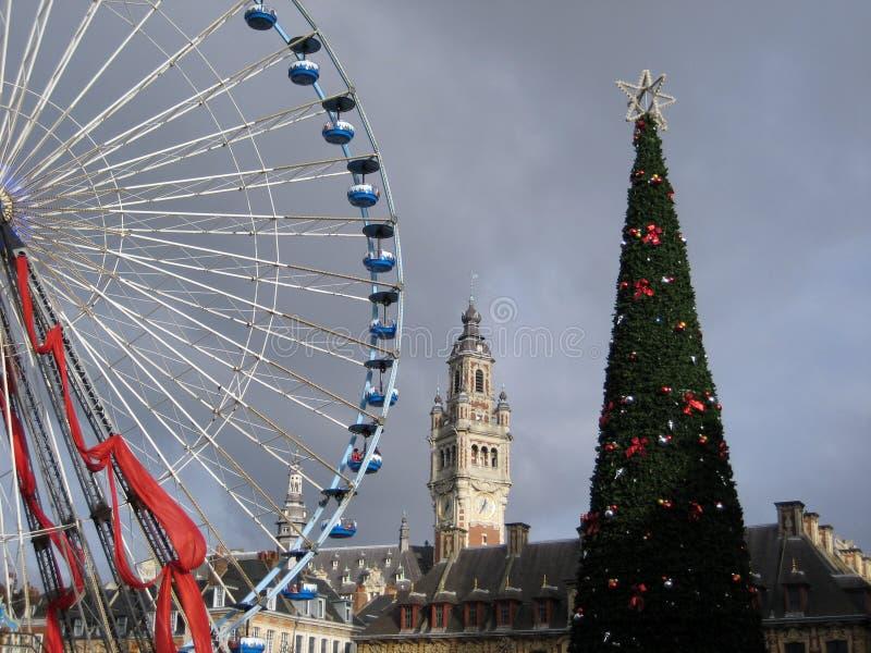 Lille, Francia en la Navidad imagenes de archivo