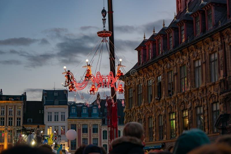 Lille, 04,2019 Frankrijk-Mei: Grote paradeeldorado Lille 3000 royalty-vrije stock afbeelding