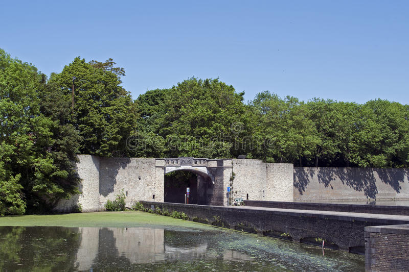 Lille gate (or Rijselpoort) in Ypres. The Lille gate in Ypres, a fortified Belgian town, is a part of the ramparts royalty free stock photos