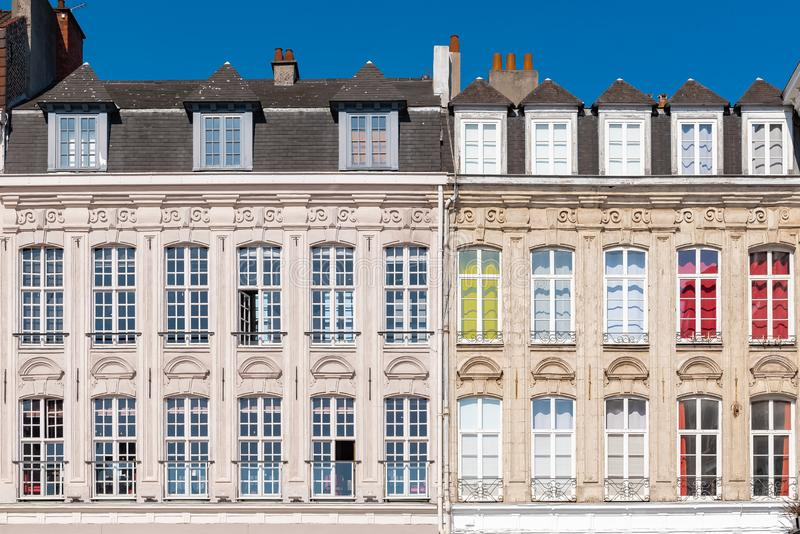 Lille, France. Lille, old facade in the center, windows, detail royalty free stock photo