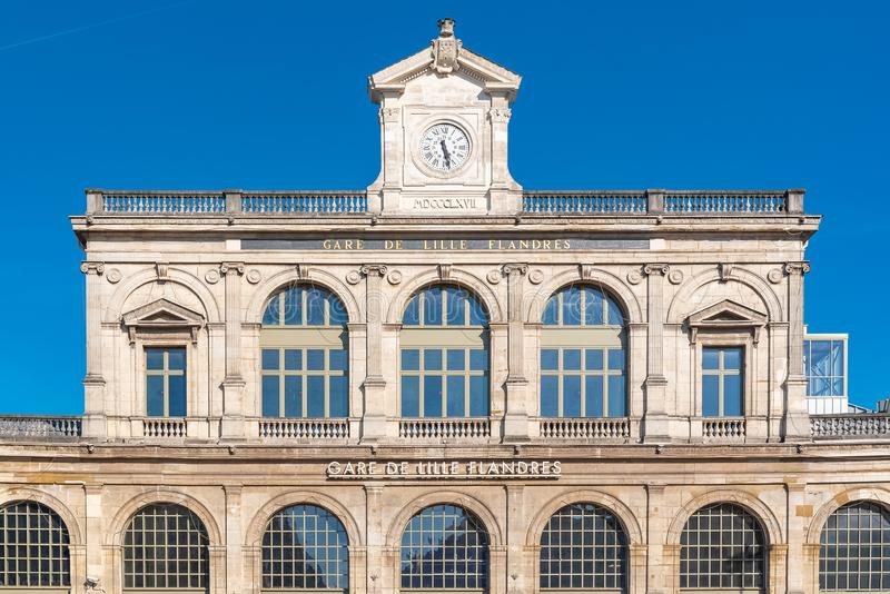Lille, France. Lille, station of Lille-Flandres, beautiful ancient facade stock photos