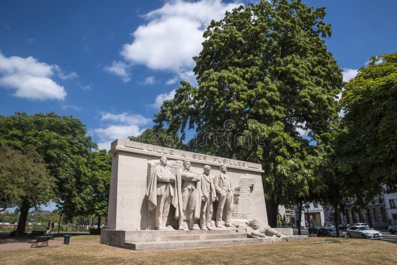Lille un monumento di Ses Fusilles fotografie stock libere da diritti