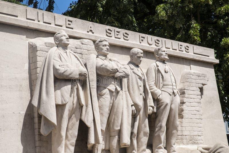 Lille un monumento di Ses Fusilles immagine stock libera da diritti
