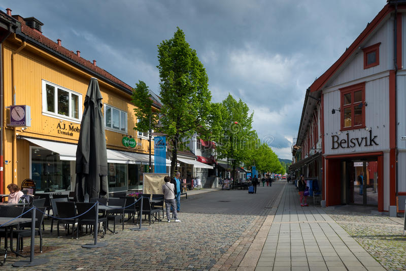 Lillehammer, Norway. JUNE 6, 2017: Downtown in a spring day. Lillehammer City was Winter Olympics in 1994 royalty free stock image