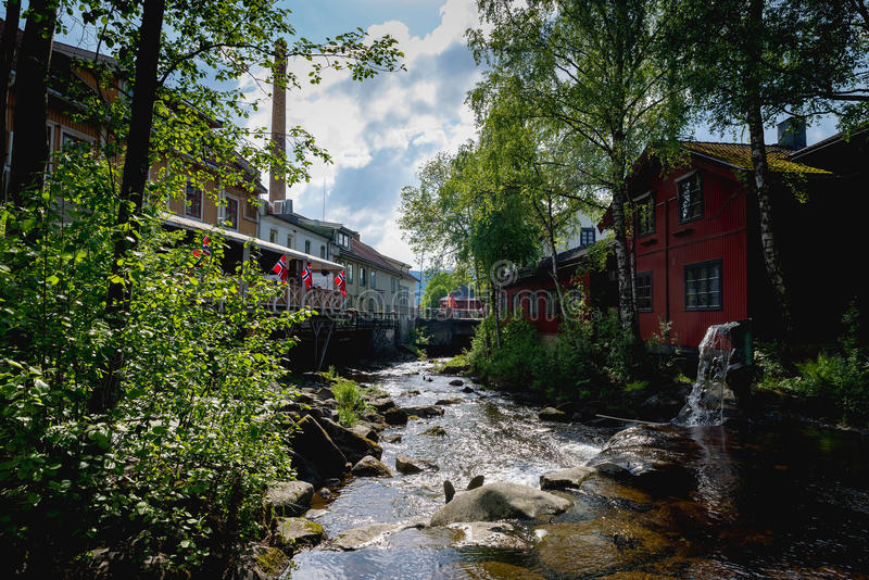 Lillehammer, Norway. JUNE 6, 2017: Downtown in a spring day. Lillehammer City was Winter Olympics in 1994 stock image