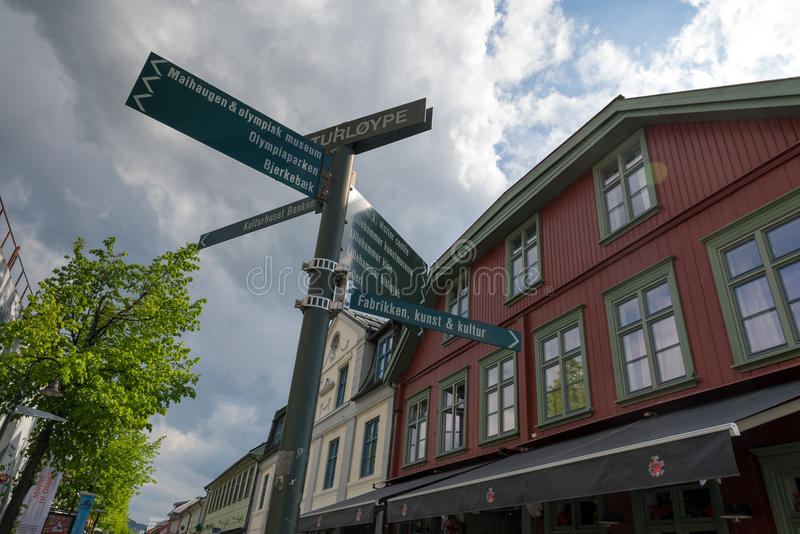 Lillehammer, Norway. JUNE 6, 2017: Downtown in a spring day. Lillehammer City was Winter Olympics in 1994 stock images