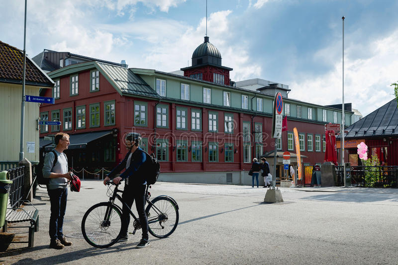 Lillehammer, Norway. JUNE 6, 2017: Downtown in a spring day. Lillehammer City was Winter Olympics in 1994 royalty free stock photography