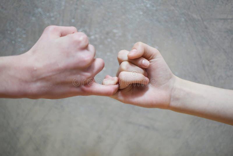 Lillfingret svär handskakningen av den tonårs- syskongruppen fotografering för bildbyråer