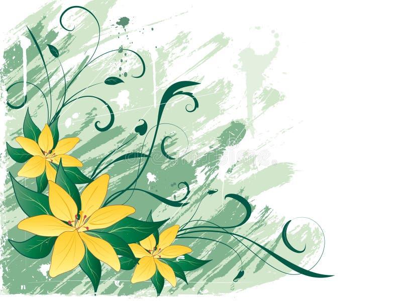 Lillies de Grunge ilustração do vetor