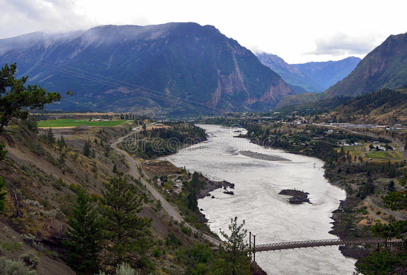 Lillooet and Fraser River, British Columbia, Canada 4. The town of Lillooet, British Columbia as viewed from an overlook, in the Fraser River Valley royalty free stock photo