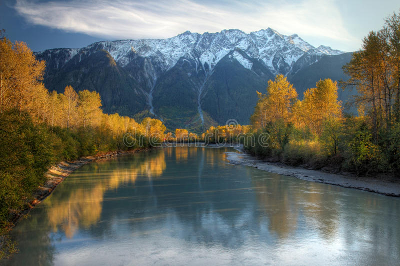 Lillooet river in Autumn royalty free stock photography