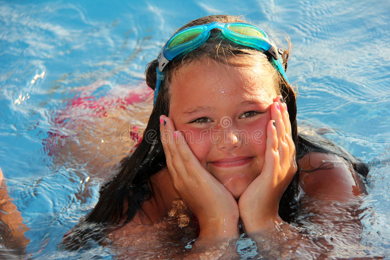 Download Lillte Girl in the pool stock image. Image of face, girl - 26653097