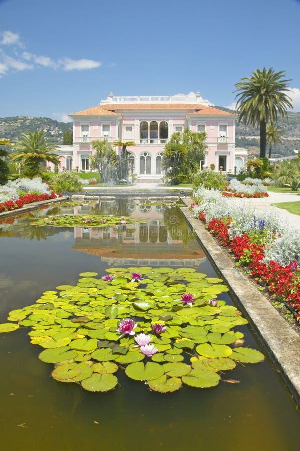 Lilly block och lotusblommablommor på trädgårdarna och Villan Ephrussi de Rothschild, Helgon-Jean-lock-Ferrat, Frankrike arkivbild