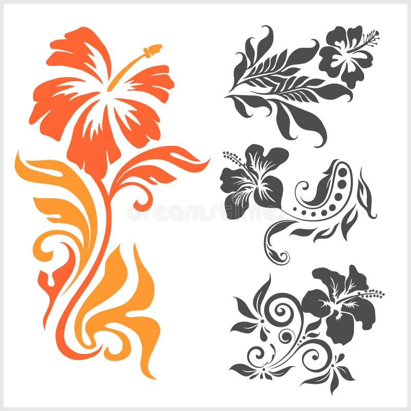 Lilly - diseño floral Tatuaje femenino Ejemplo del vector en un fondo blanco stock de ilustración