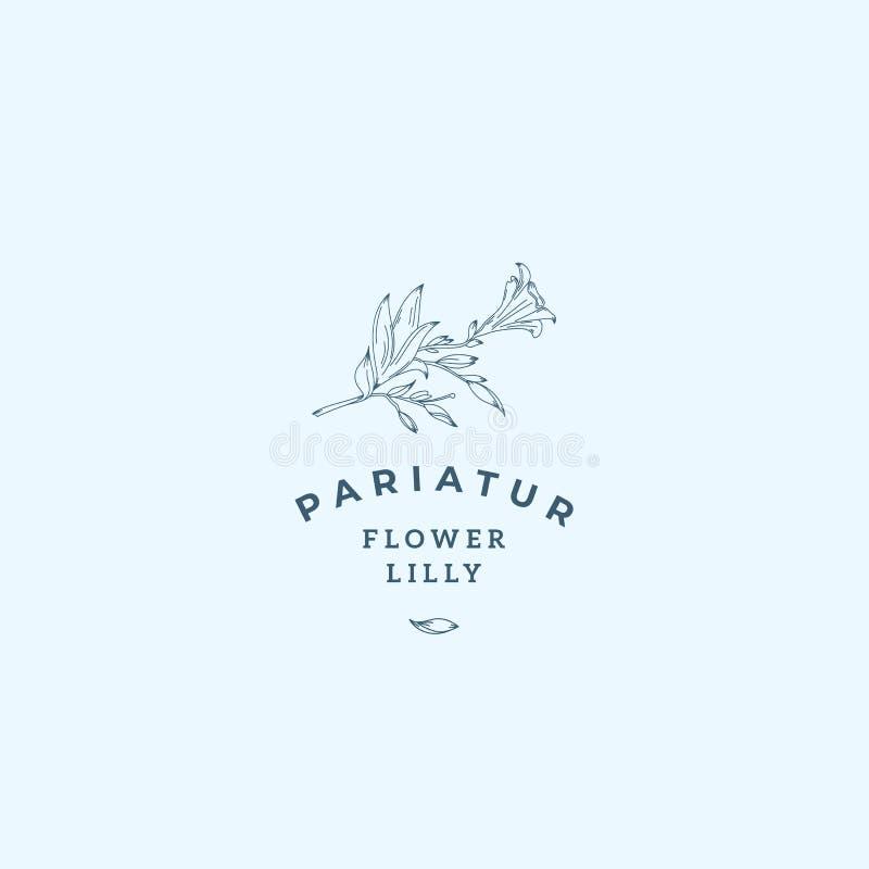 Lilly Flower Abstract Vetora Sign, símbolo ou Logo Template Lilly Illustration retro tirada mão com tipografia elegante ilustração stock