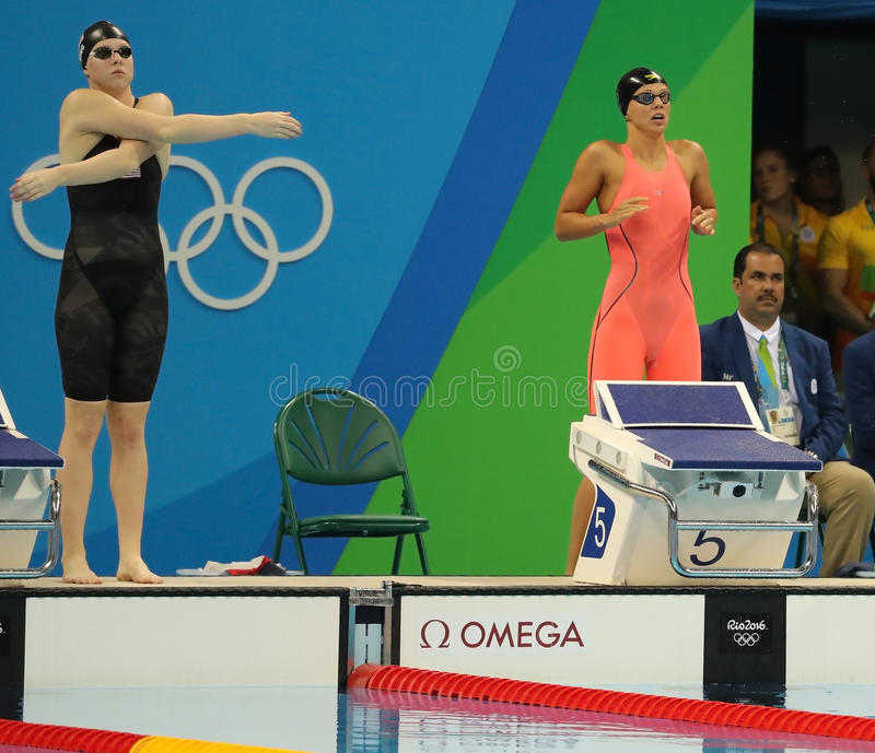 Lilly King of United States L and Yulia Efimova of Russia before Women`s 100m Breaststroke Final of the Rio 2016 Olympic Games. RIO DE JANEIRO, BRAZIL - AUGUST 8 royalty free stock photography