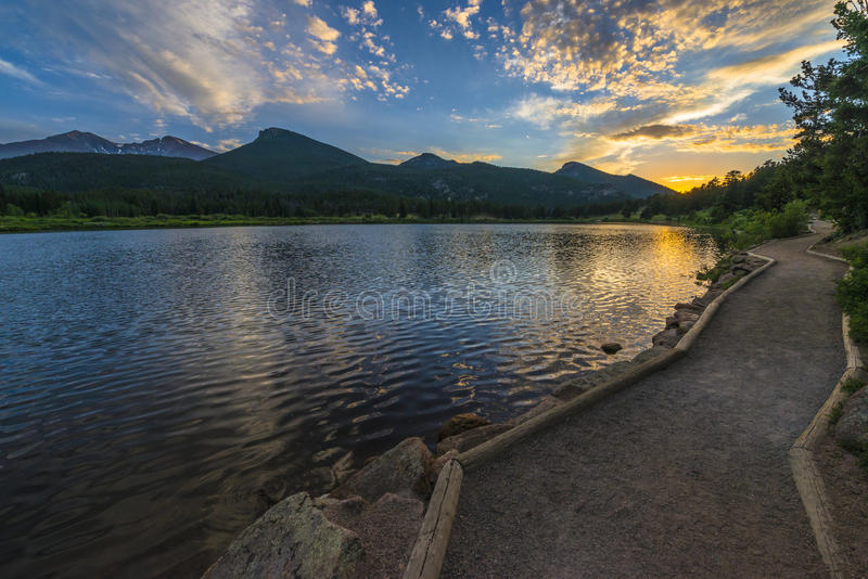 Lilly Lake no por do sol - Colorado fotografia de stock