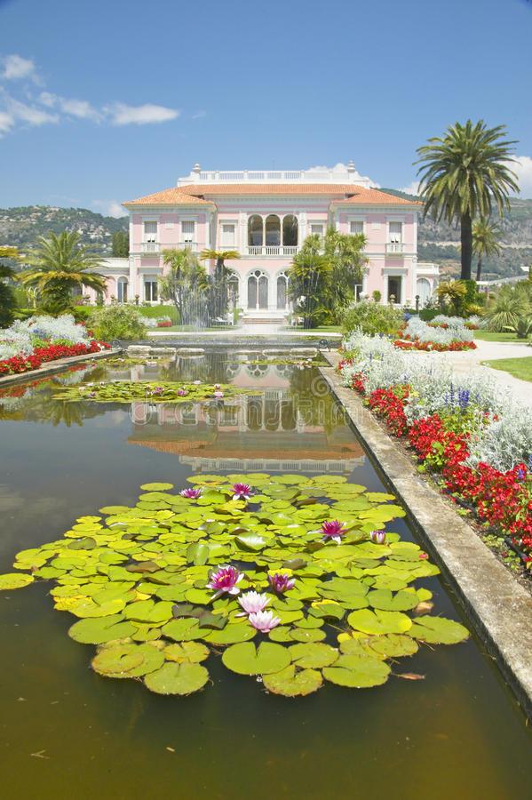 Lilly pads and lotus flowers at The Gardens and Villa Ephrussi de Rothschild, Saint-Jean-Cap-Ferrat, France stock photography