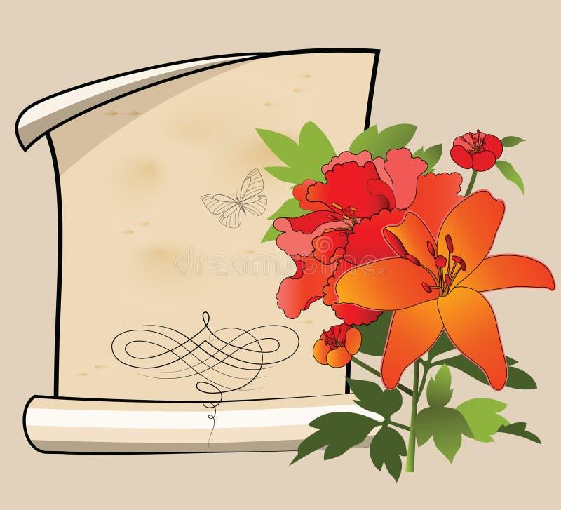 lilly papierowy pergamin royalty ilustracja