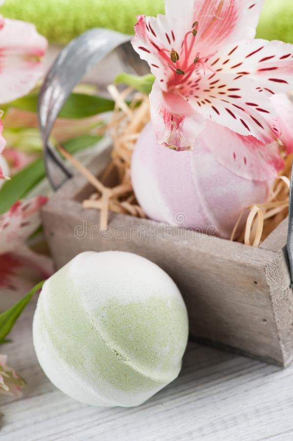 Lilly, towels and bath bombs stock image