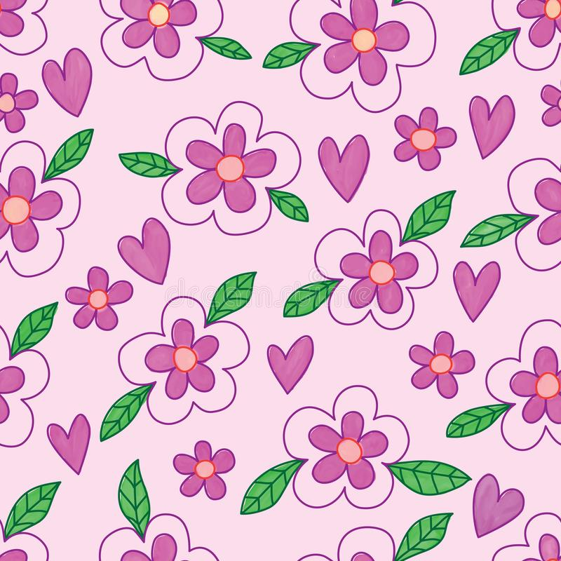 Lilor för blommabladbatik älskar den sömlösa modellen för vattenfärgen royaltyfri illustrationer