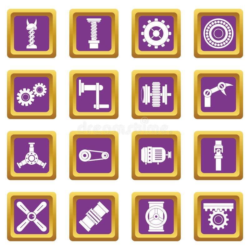 Lilor för symboler för Techno mekanismsats fastställda vektor illustrationer