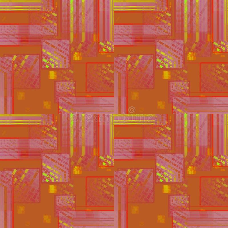 Lilor för violet för terrakotta för sömlös invecklad fyrkantmodellguling orange stock illustrationer
