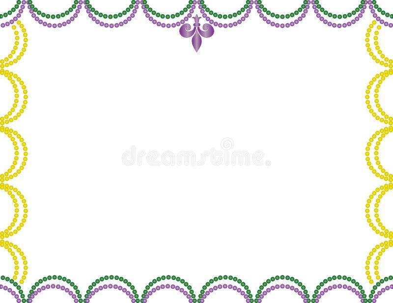 Lilor, gräsplan och guling Mardi Gras Beads Border royaltyfri illustrationer