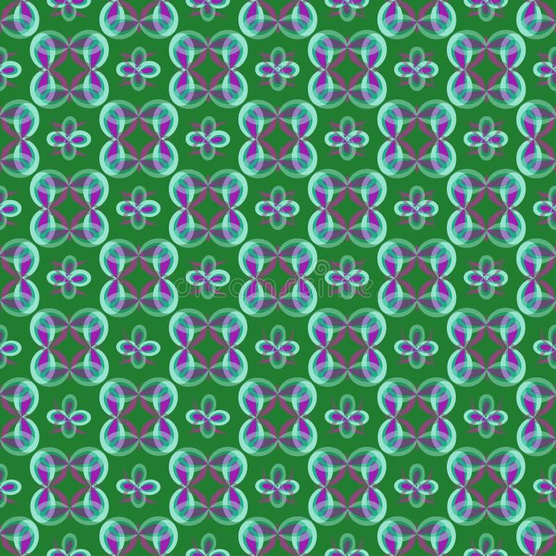 Lilor och bl?a abstrakta objekt i retro stil p? en gr?n bakgrund vektor illustrationer