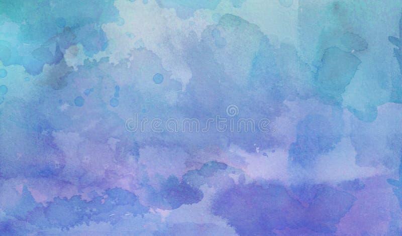 Lilor och den blåa gröna vattenfärgen tvättar bakgrund med frans blöder och blommar fläckar i kornig vattenfärgmålarfärg på pappe royaltyfri illustrationer
