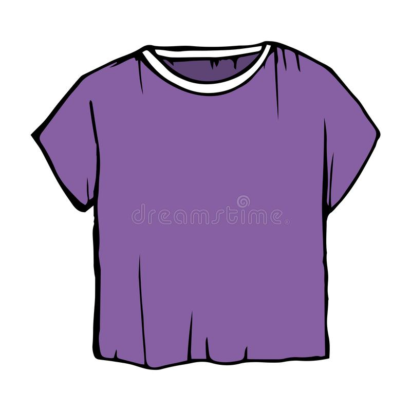Lilor skissar T-tröja T-tröjaillustration barns kläder för översiktsteckning vektor illustrationer
